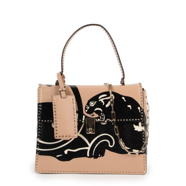 Valentino Python Panther And Beige Calfskin Leather Tote