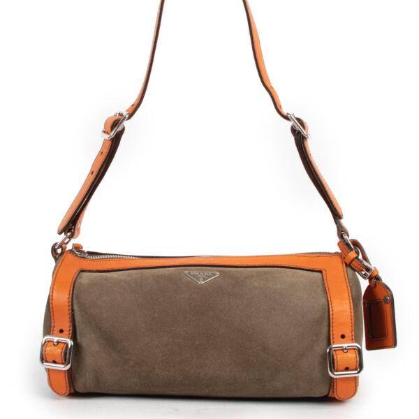 Shop safe online at Labellov in Antwerp this 100% authentic second hand Prada Green Nubuck Shoulder Bag