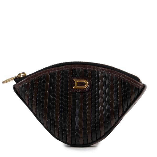 Delvaux Black and Brown TDC Coin Purse