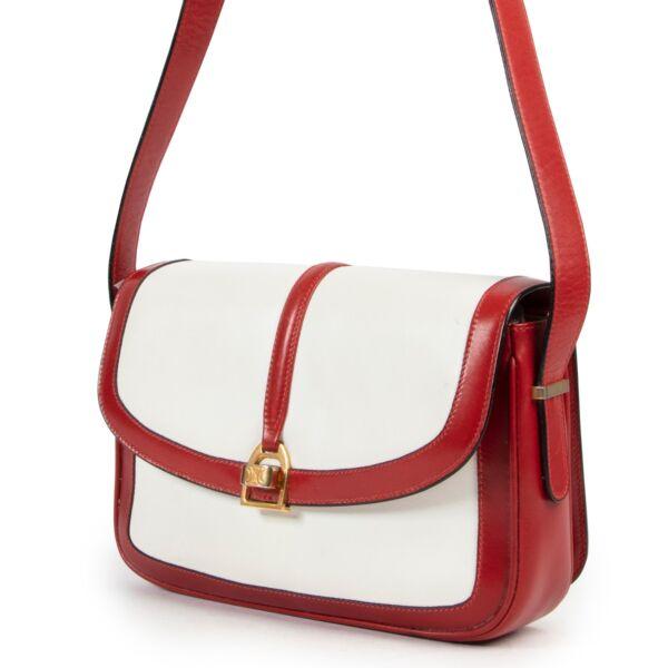 Céline White & Red Crossbody Box Bag