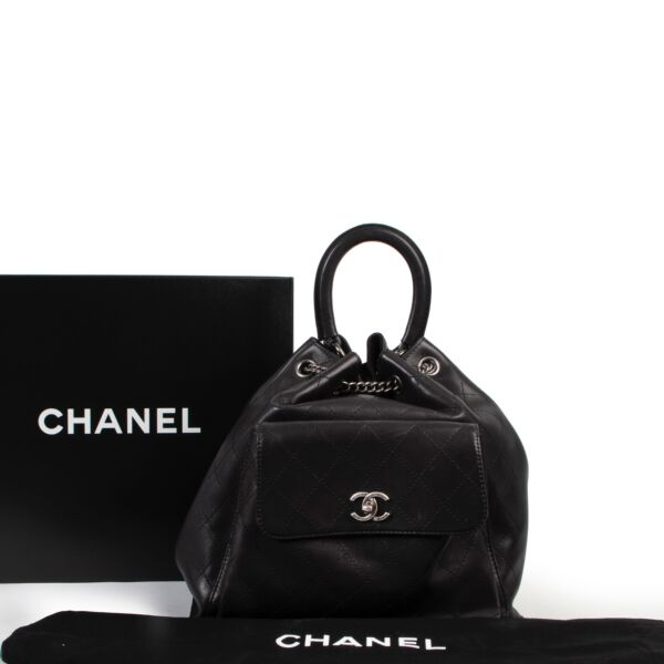 Chanel Black Stitched Leather Urban Luxury Drawstring Backpack