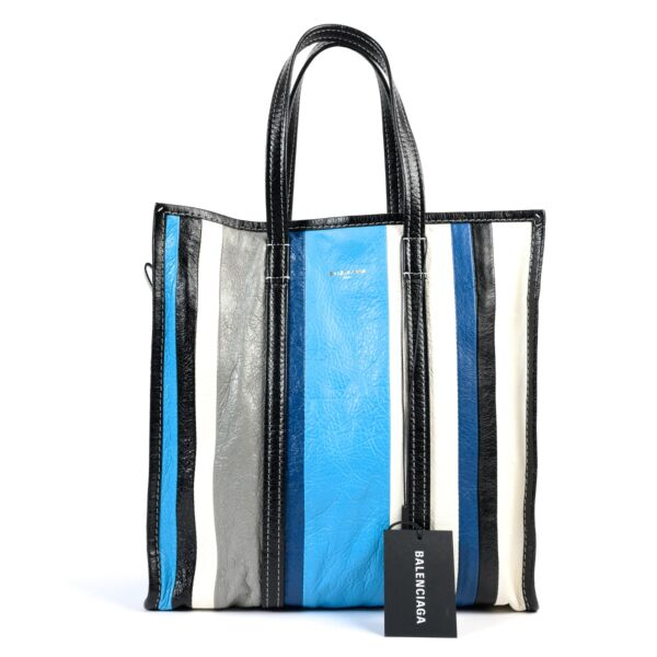 Shop safe online at Labellov in Antwerp this 100% authentic second hand Balenciaga Blue Stripe Bazar Tote Bag
