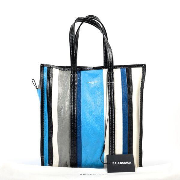 Balenciaga Blue Stripe Bazar Tote Bag