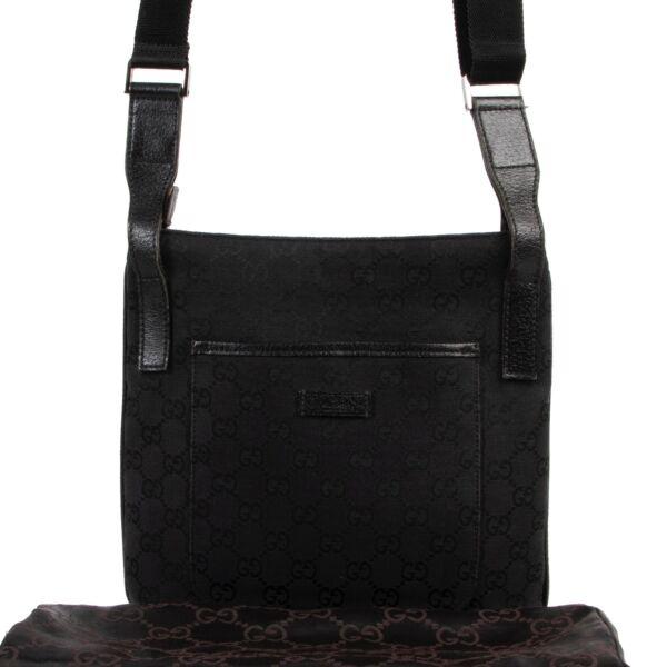 Gucci Black GG Canvas Messenger Crossbody Bag