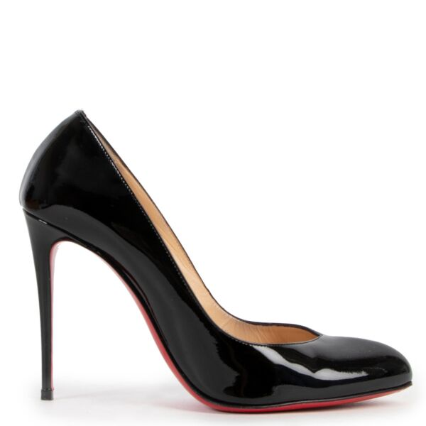Christian Louboutin Black Patent Breche Heels - Size 38,5
