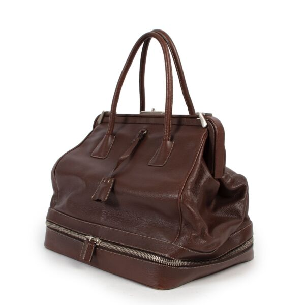 Prada Brown Leather Cerniera Top Handle