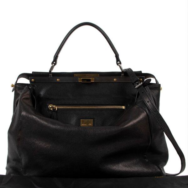Fendi Black Brown Metallic Large Peekaboo Bag