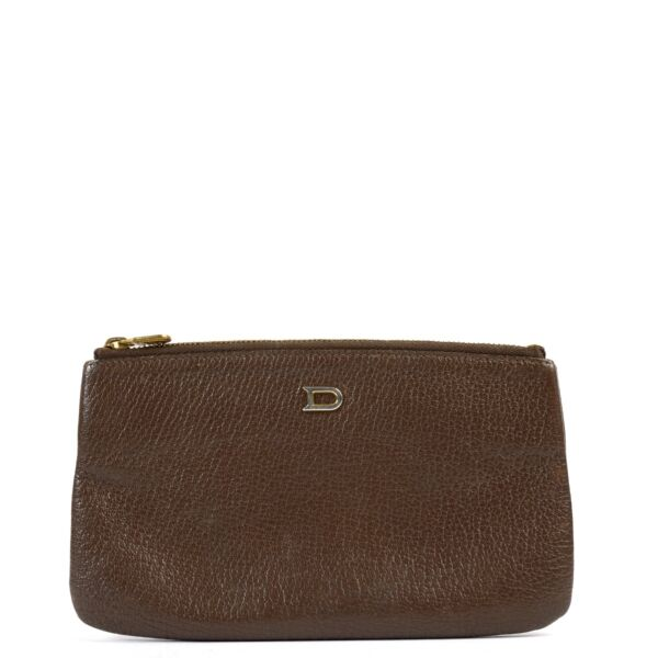 Shop safe online at Labellov in Antwerp this 100% authentic second hand Delvaux Brown Leather Pouch