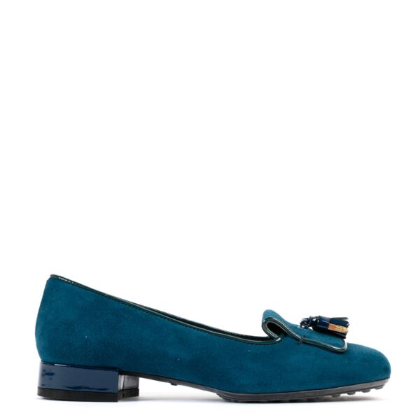 Tods Petrol Green Suede Flats - Size 36 for the best price at Labellov secondhand
