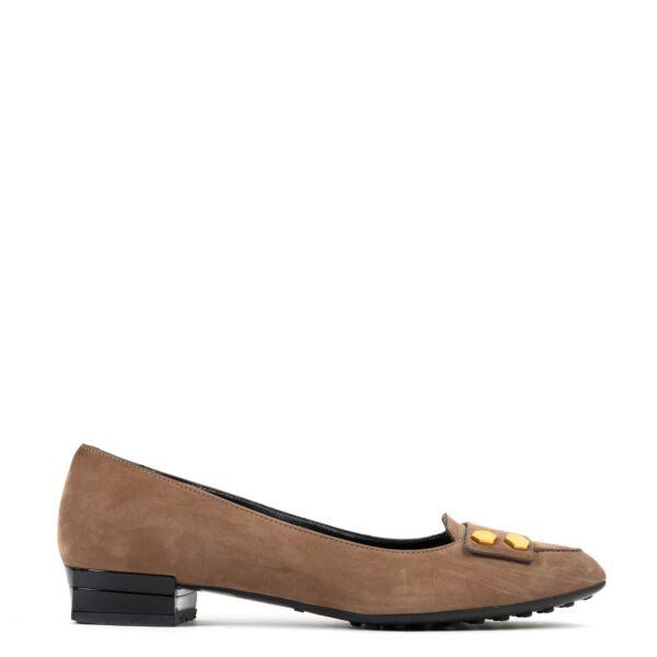 Tods Dark Brown Suede Flats - Size 36