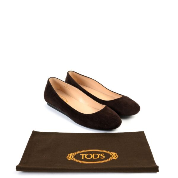 Tods Brown Nubuck Flats - Size 36