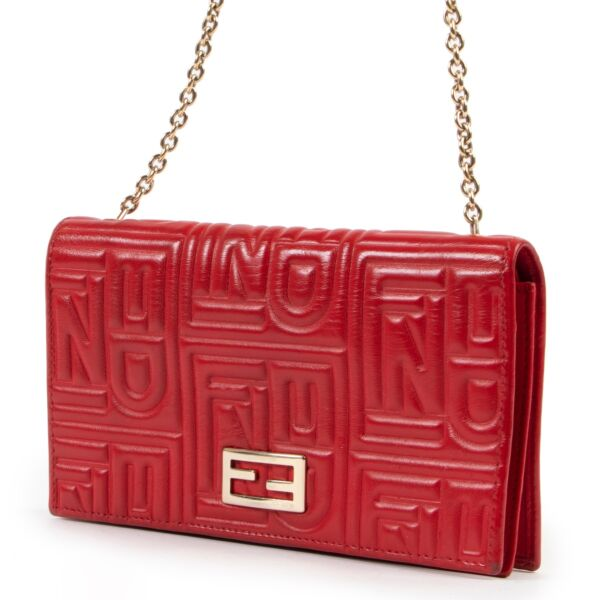 Fendi Red Leather Wallet On a Chain