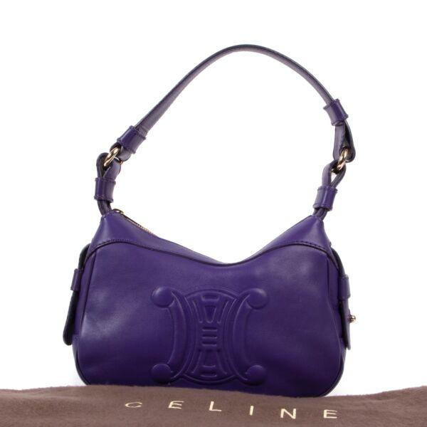 Celine Dark Purple Leather Shoulder Bag