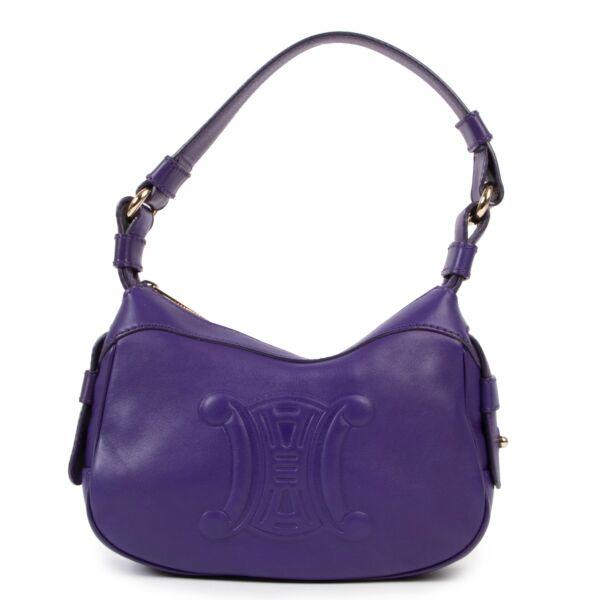 Shop safe online at Labellov in Antwerp this 100% authentic second hand Celine Dark Purple Leather Shoulder Bag