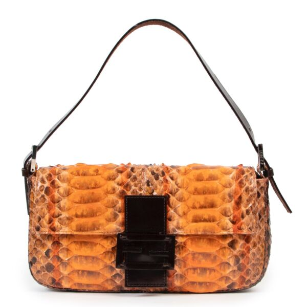 Shop safe online at Labellov in Antwerp this 100% authentic second hand Fendi Orange Painted Python Baguette Shoulder Bag