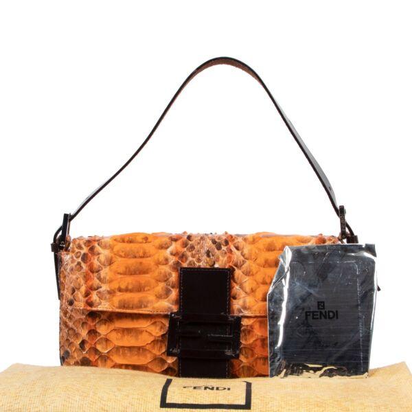 Fendi Orange Painted Python Baguette Shoulder Bag