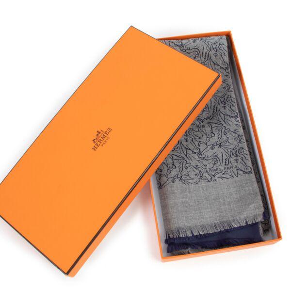 Hermès Horse Print Cashmere and Silk Scarf