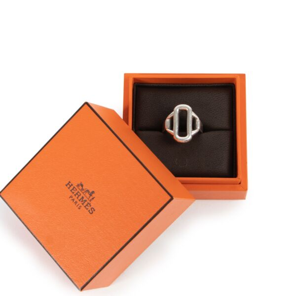 Hermès Silver Attelage Ring - Size 52