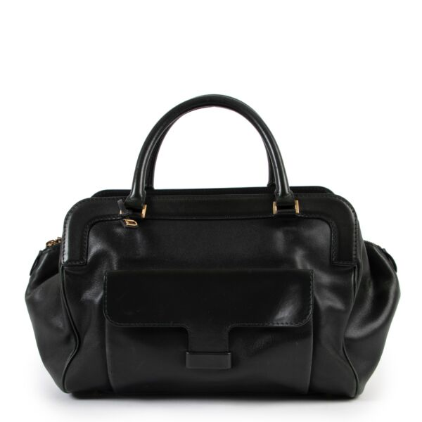 Shop safe online at Labellov in Antwerp this 100% authentic second hand Delvaux Dark Green Leather Top Handle