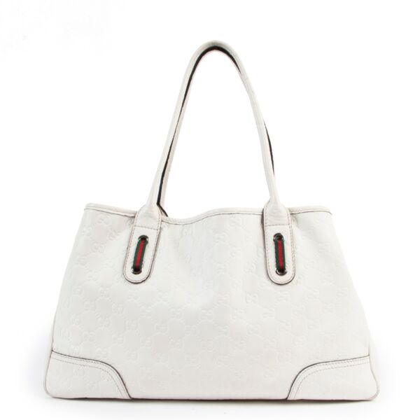 buy online authentic second hand vintage Gucci Guccissima White Leather Tote Bag at Labellov
