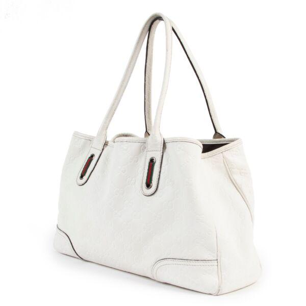 Gucci Guccissima White Leather Tote Bag