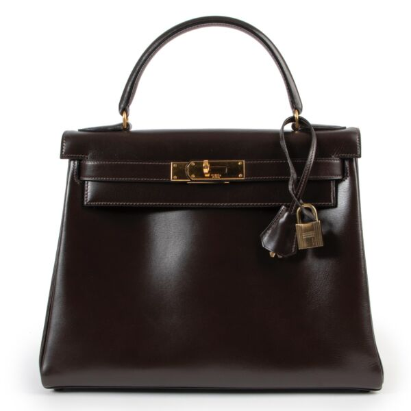 Buy an authentic second hand Hermès Kelly 28 Box Marron at Labellov