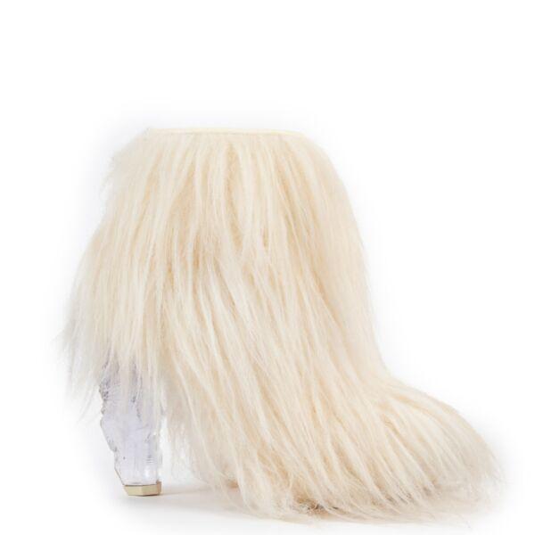 shop online authentic second hand archive Chanel White Faux Fur Ankle Boots A/W 2010 - Size 39 at Labellov.com