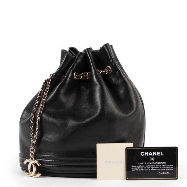 Chanel Black Leather Bucket Bag