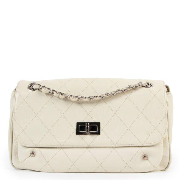 Chanel White Shiny Caviar Calfskin Flap Bag