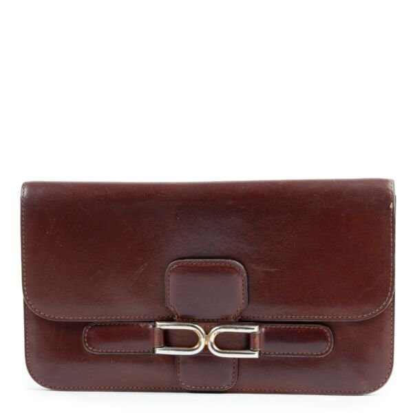 shop and sell authentic vintage Delvaux Brown Escudo Box Leather Long Wallet at Labellov for the best price