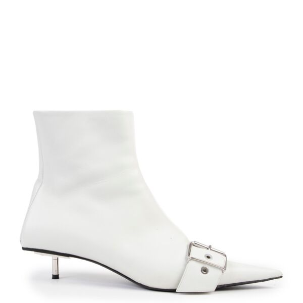 Buy an authentic pair of second hand Balenciaga white belt leather ankle boots size 40 at Labellov