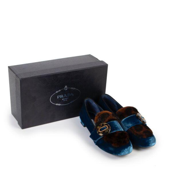 Prada Blue Velvet Leopard-print Loafers - Size 40