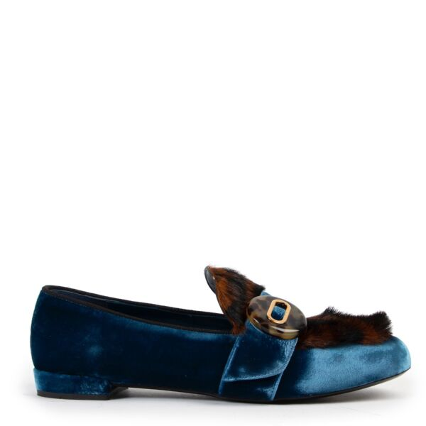 buy authentic second hand Prada Blue Velvet Leopard-print Loafers at Labellov for the best price