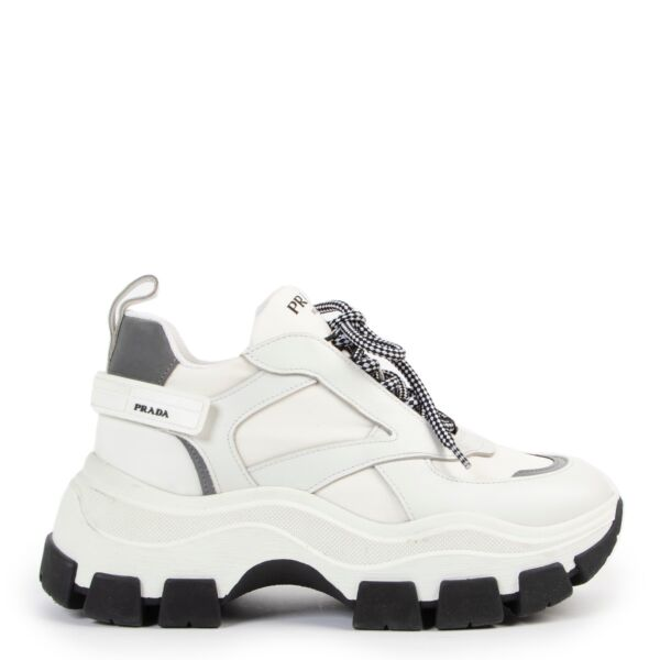 buy authentic second hand Prada Block White Sneakers at Labellov for the best price