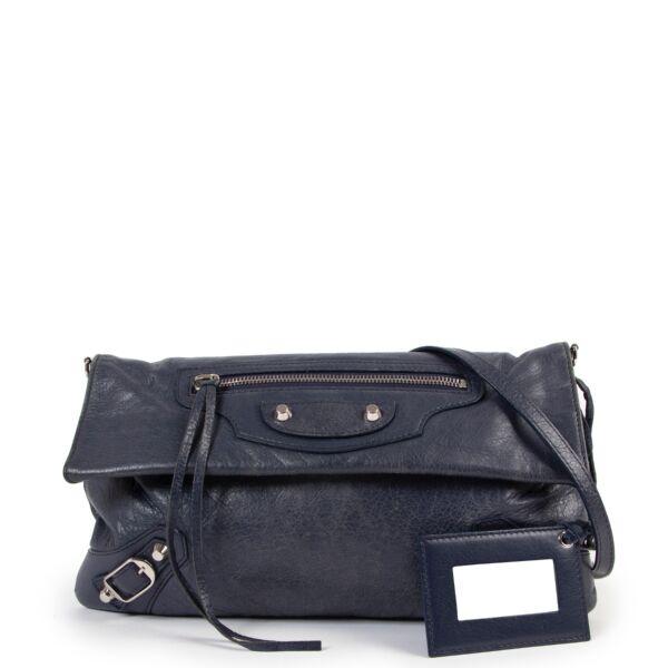 Balenciaga Envelope Blue-grey Clutch Crossbody Bag