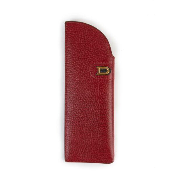 Delvaux Red Burgundy Leather Glasses Case Pen Case Buy this gorgeous designer piece here safely!