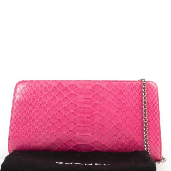 Chanel Pink Python Crossbody Chain Bag