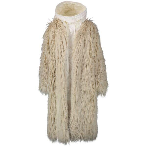 Authentieke Tweedehands Moncler White Bouregreg Faux-shearling Overlay Quilted Coat juiste prijs veilig online shoppen luxe merken webshop
