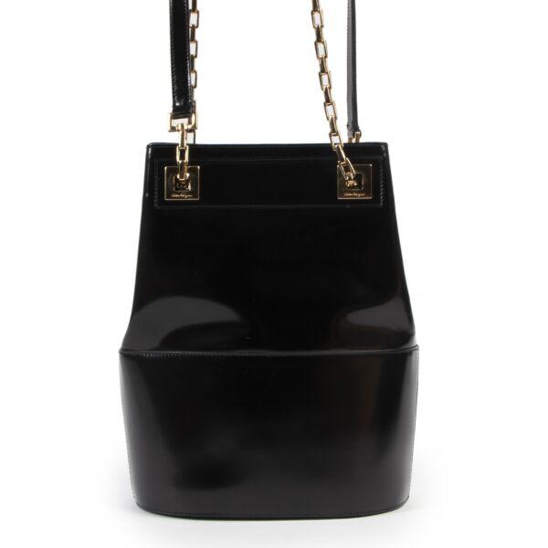 Salvatore Ferragamo Black Chain Shoulder Bag for the best price at Labellov