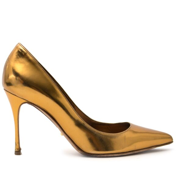 shop safe online Sergio Rossi Gold Metallic Pump for the best price