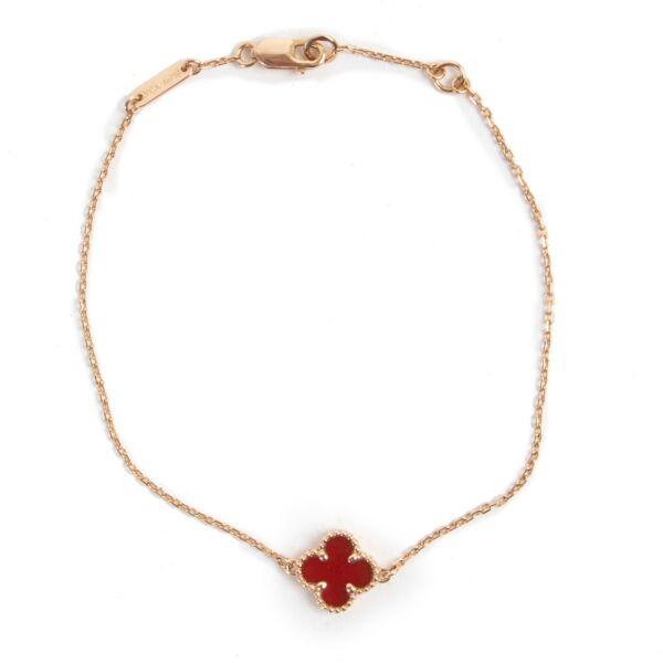 Van Cleef Rose Gold Carnelian Sweet Alhambra Bracelet