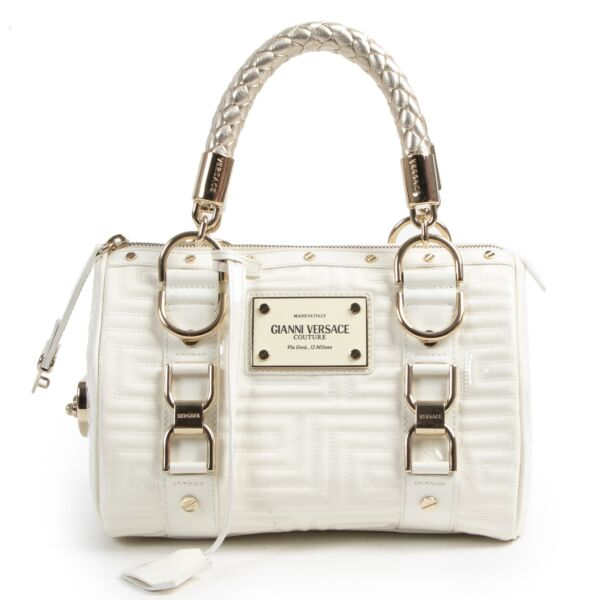 Authentic secondhand Gianni Versace Couture White Patent Leather Top Handle Bag designer bags fashion luxury vintage webshop safe secure online shopping