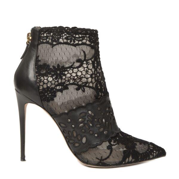 Valentino Garavani Lace Leather Booties - size 39