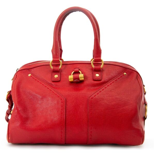 yves saint laurent red muse bowler bag now for sale at labellov vintage fashion webshop belgium