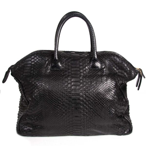 Buy and sell your authentic Zagliani Black Python Large Tomodachi Bowling Bag for the best price at Labellov.
