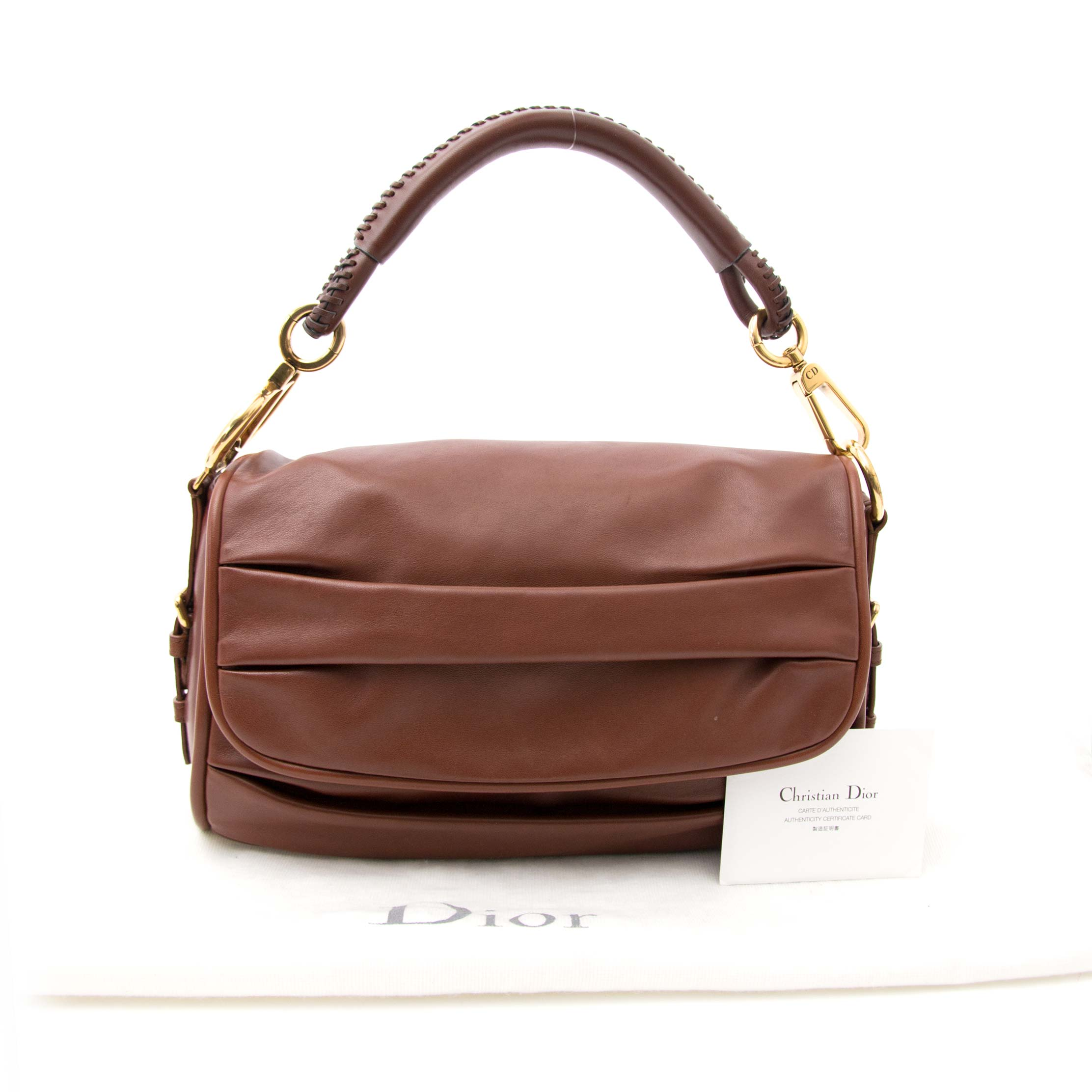 dior pleated brown leather bag now online at labellov.com for the best price