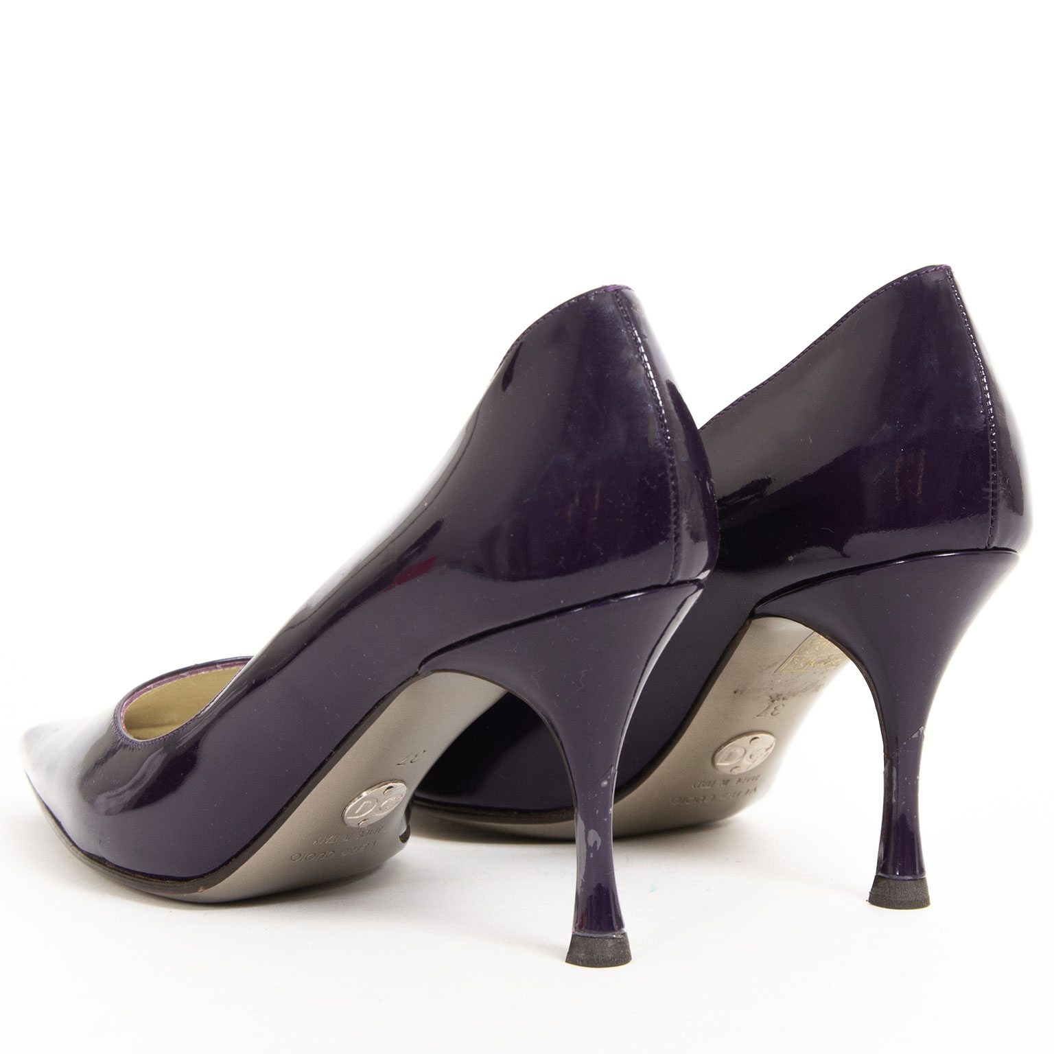 dolce & gabbana purple patent leather heels now for sale at labellov vintage fashion webshop belgium