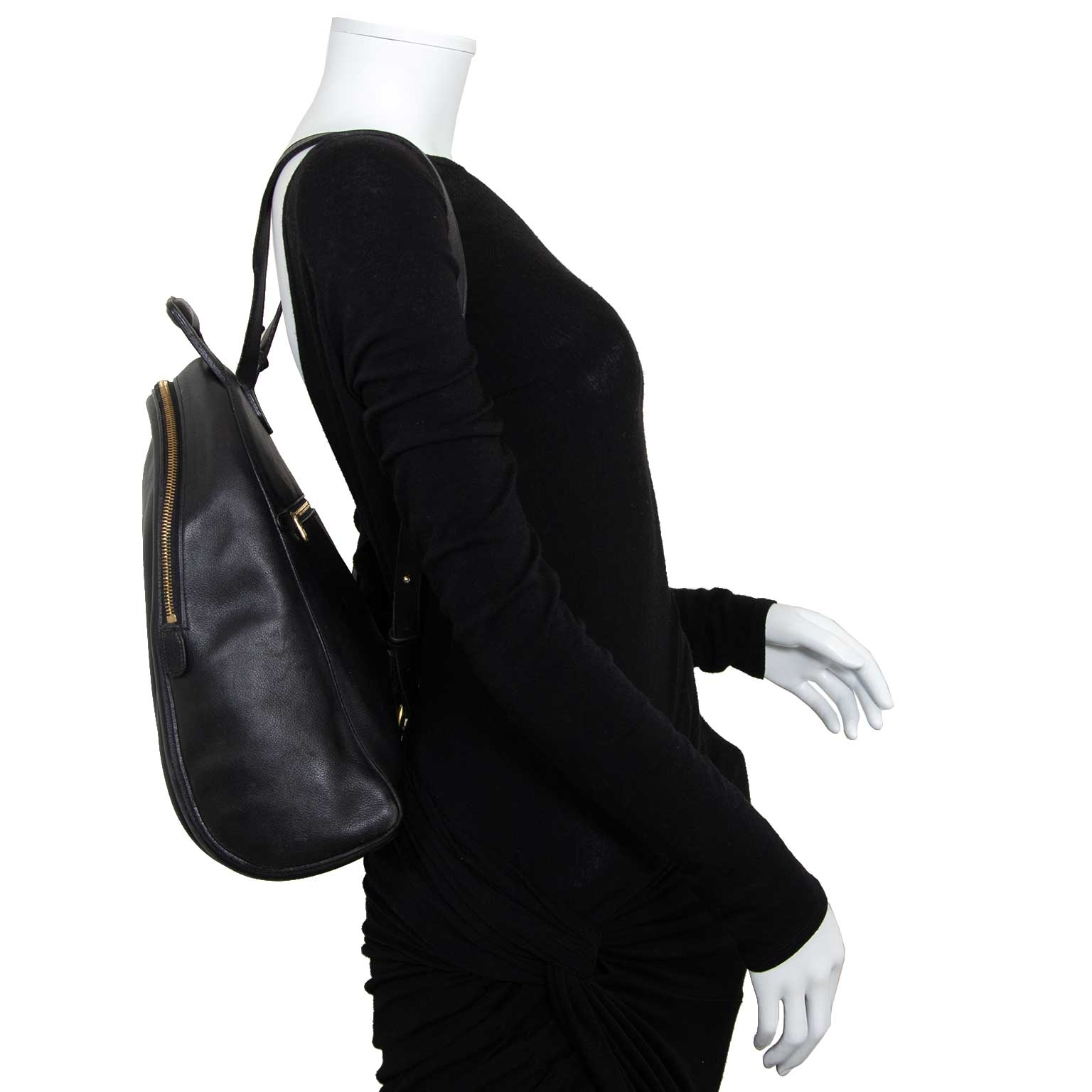 delvaux black leather backpack now for sale at labellov vintage fashion webshop belgium