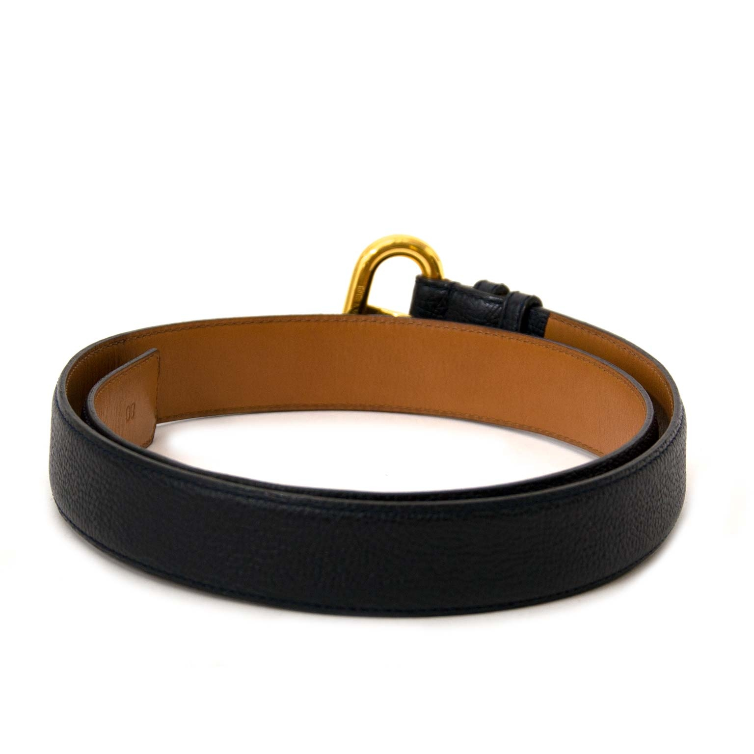 31db203cd22 ... Delvaux Dark Blue Leather Belt for sale online at labellov. Koop en  verkoop uw authentieke
