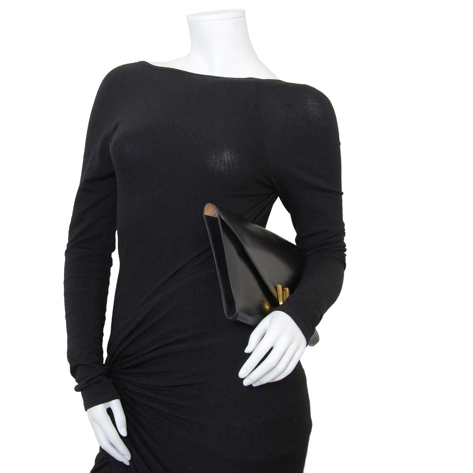 delvaux black clutch now for sale at labellov vintage fashion webshop belgium